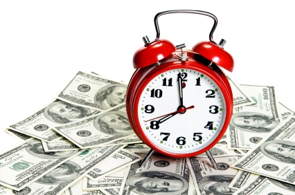 Alarm clock stand over money