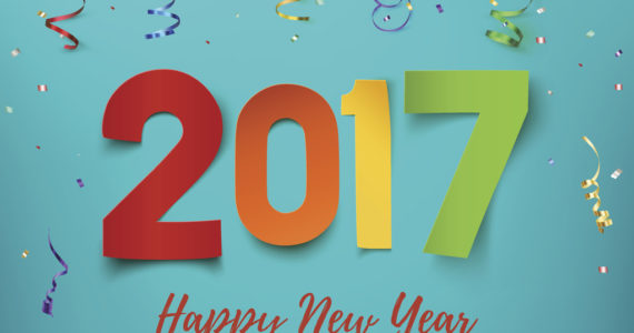 Happy New Year 2017 background. Colorful, hand drawn paper typeface on celebration backdrop. Greeting card template. Vector illustration.